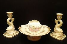 Cambridge Glass Tuscan Charleton Rose Dolphin Candle Holders Shell Compote Set