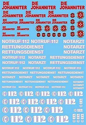 Johanniter 112 Notruf Rettungsdienst #1 Rettungs Dienste 1:87 Decal Abziehbilder