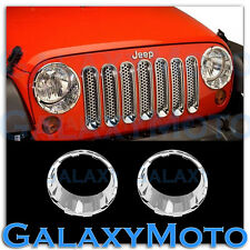 Chrome ABS HeadLight Lamp Cover Ring kit Set a Pair for 07-16 Jeep Wrangler JK