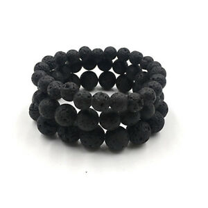 Man-Natural-Black-Lava-Stone-Rock-Volcanic-Round-Bead-Stretchy-Elastic-Bracelets