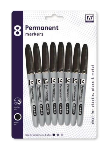 AAMB 8 Black Permanent Marker Pens Bullet Tip Plastic CD Glass Metal