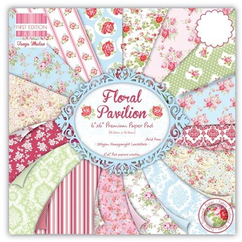 """First Edition Floral Pavilion Sample Paper Pack (16 sheets x 6x6"""" size)"""