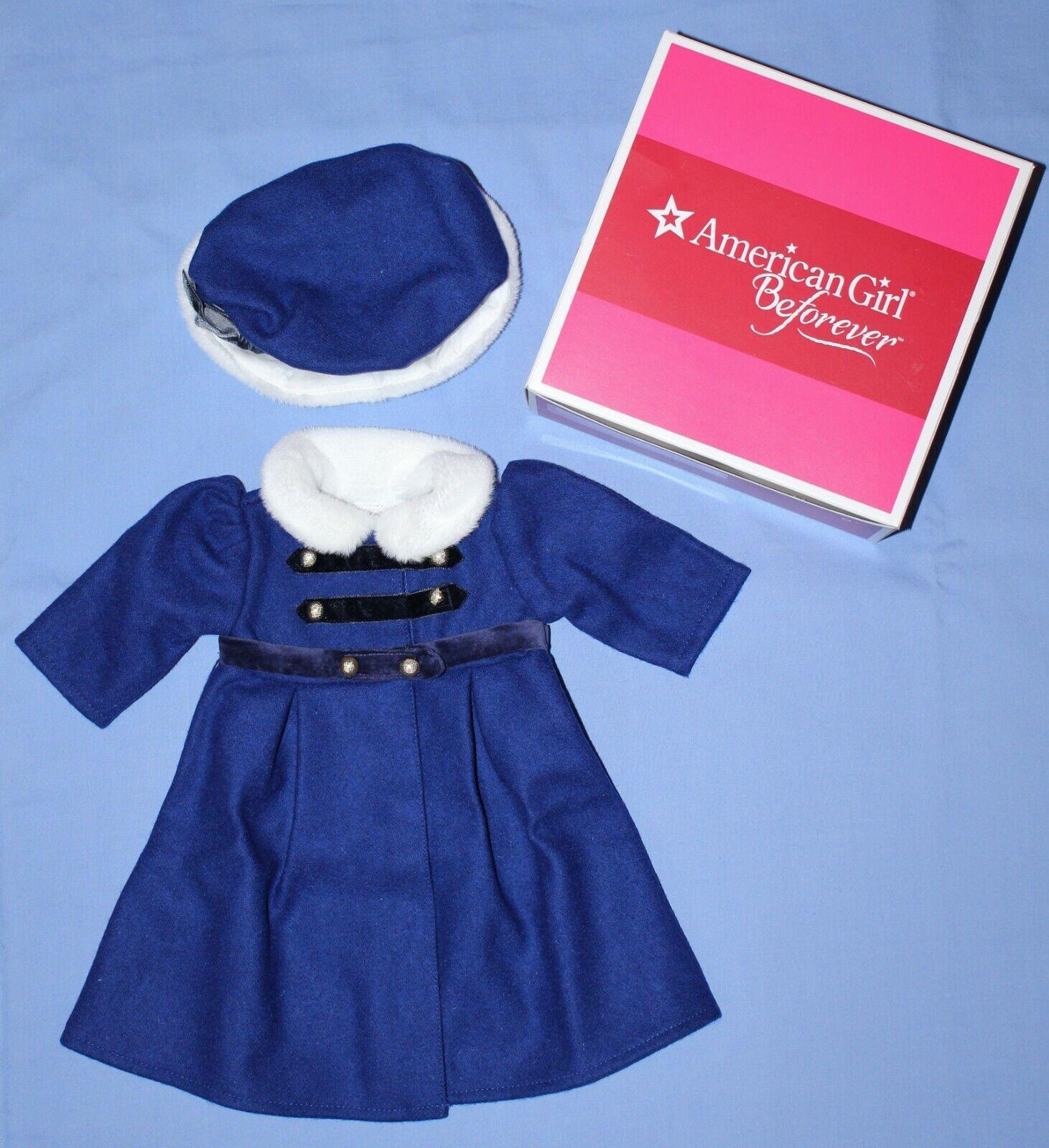 American Girl CAROLINE WINTER COAT & CAP HAT New Blau Wool Weiß Trim