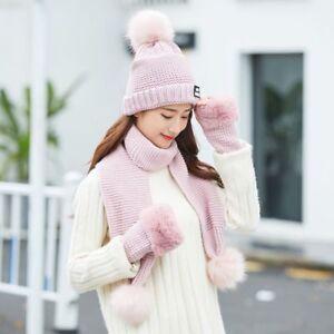 f6c24bff03c Fashion Women Warm Winter Knit Plus Cotton Hat Scarf Gloves Suit Set ...