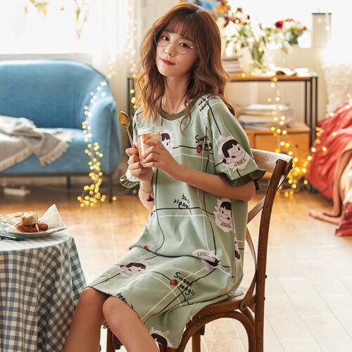 Plus Size Women Sleepshirt Dress Cotton Short Sleeve Nightgown Cartoon Sleepwear