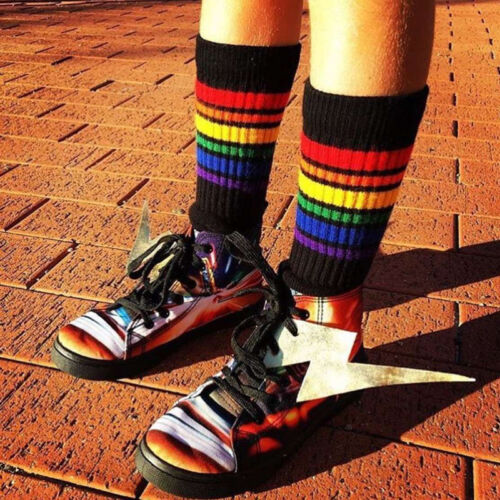 New Kids Baby Girls Boy Casual Rainbow Striped Knee High Stockings Cotton Socks