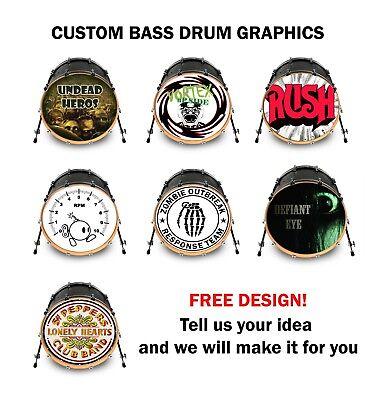 custom bass drum head vinyl decal 20 your art design kick decal wrap sticker ebay. Black Bedroom Furniture Sets. Home Design Ideas