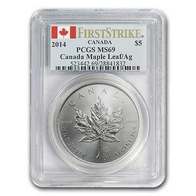 2014 1 oz Silver Canadian Maple Leaf Coin - MS-69 First Strike PCGS - SKU #81023