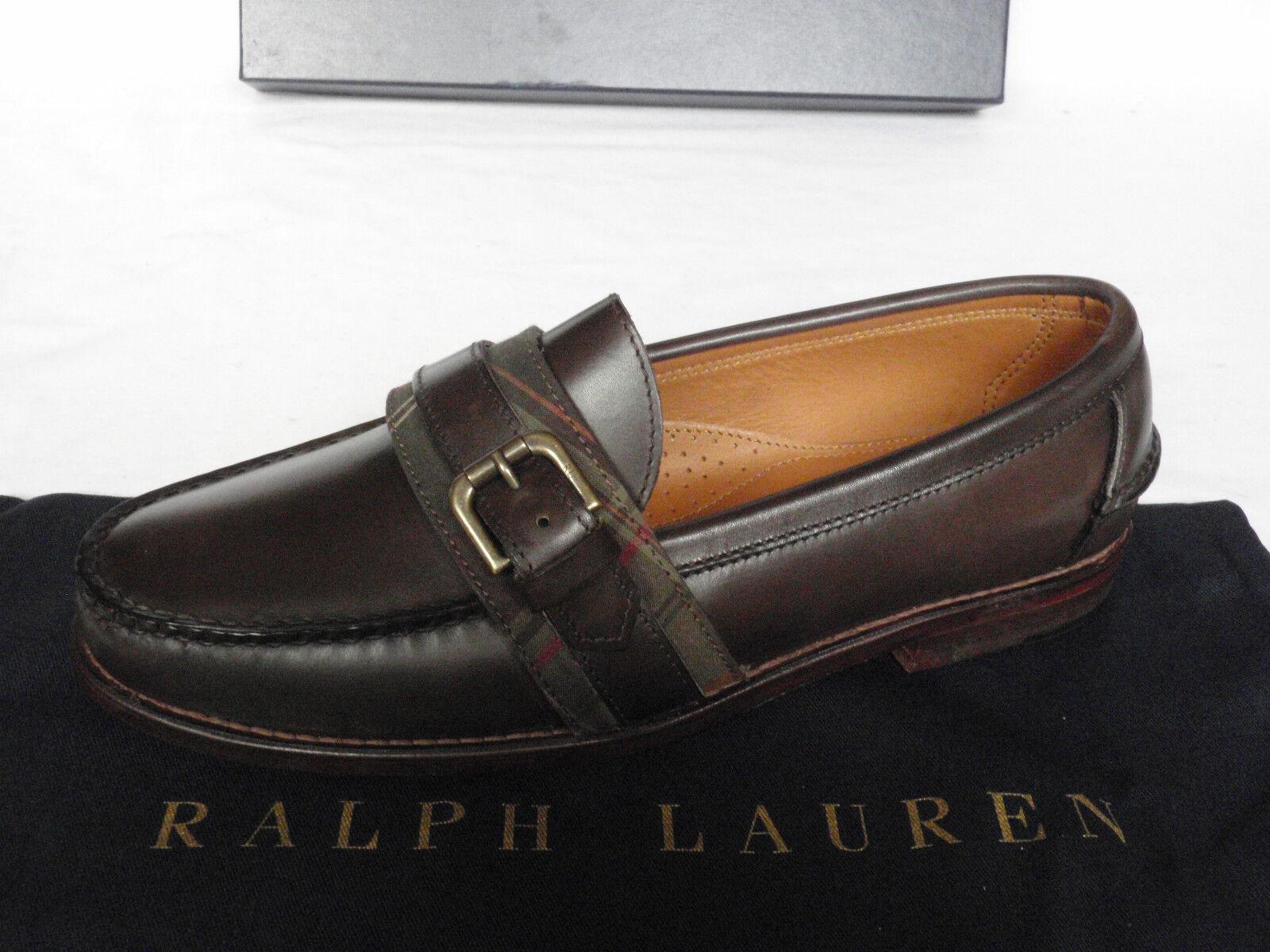 NEW Mens braun RALPH LAUREN Dark braun Mens Leather Buckle Loafer schuhe UK 8.5 E abb026