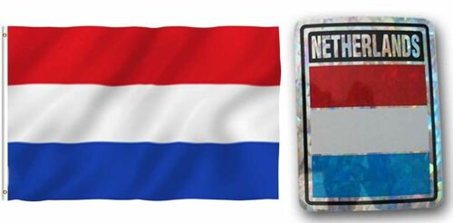 """Wholesale Combo Set Netherlands Country 3x5 3'x5' Flag and 3/""""x4/"""" Decal"""