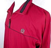 Tommy Hilfiger Mens Jacket Size Large Golf Windbreaker Rain Full Zip Red