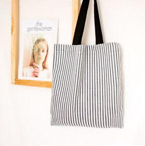 Open no Lining Cotton Linen Eco shopping Tote Shoulder Bag Blue Stripe C12d S#