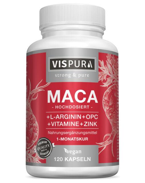 Maca Kapseln hochdosiert 5000mg + L- Arginin 1800mg + OPC, Zink, Vitamin B6, B12