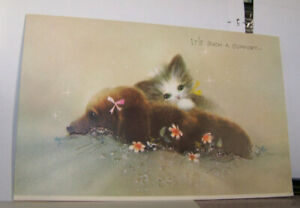 Vintage-Greeting-Card-Norcross-New-York-Cat-Dog-Kitten-Puppy-Comfort-Lean-On