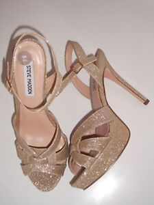 5b53cce82 Steve Madden Shoes Size 6.5 Gold Glitter Platform Sandal Brand New ...