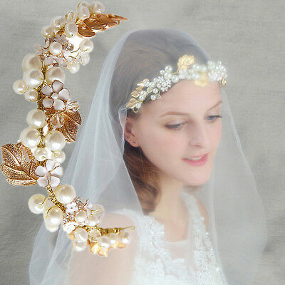 Gold Chain Wedding Crystal Charm Pearl Flower Bridal Hairpin Headband Headpiece