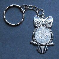 1962 55th birthday lucky Sixpence Owl key ring Pendant Charm wedding anniversary