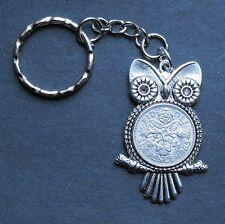 1958 lucky Sixpence Owl Bird keyring Pendant Charm 59th birthday Michael Jackson