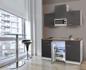 Dettagli su Cucina Angolo Cottura Singola Mini Blocco Respekta 150 cm  Bianco-Grigia