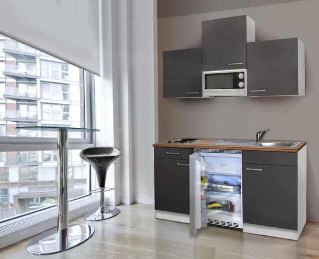 Küche Küchenzeile Singleküche Miniküche Küchenblock Respekta 150 Cm Weiss  Grau