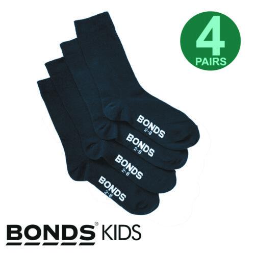 Bonds 4 Pairs Kids Boys Girls School Oxford Crew Soft Cotton Rich Navy Socks