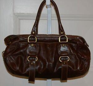 Image Is Loading Francesco Biasia Warm Brown Leather Handbag Satchel Gold