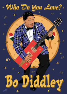 Bo Diddley- Fifties style poster - (signed) Art Print - Jarod Art