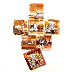 Sepia-Picture-Coasters-Scenes-of-London-England-Landmarks-Drink-Mats-Set-of-6