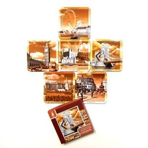 Sepia-Cork-Base-Coasters-Scenes-of-London-Landmarks-Drink-Mats-Set-of-6-Photos