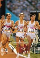 1984 LA OLYMPICS SEBASTIAN COE STEVE OVETT STEVE CRAM SIGNED (PRINTED) A4 PRINT