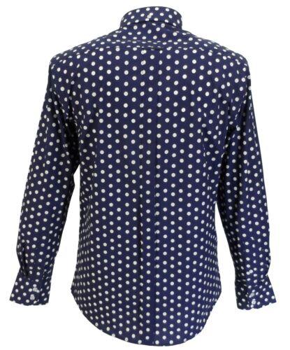 Mazeys Mens Navy and White Retro Mod Polka Dot 100/% Cotton Shirts…