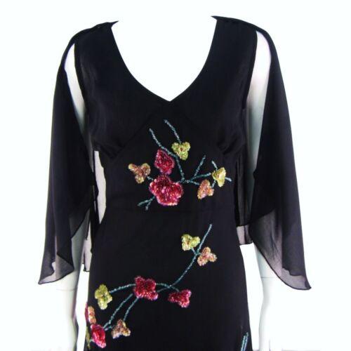 PER UNA @ M/&S SEQUIN EMBELLISHED BLACK CHIFFON EVENING PARTY DRESS SIZE 8 12 #1