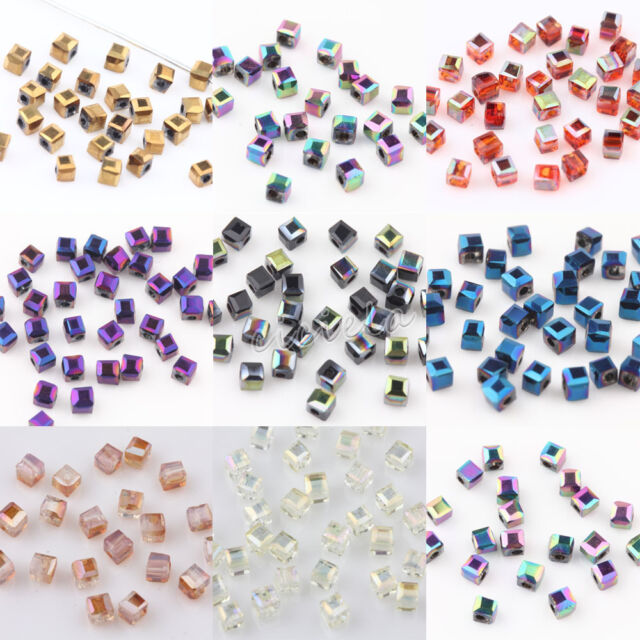 50pcs Bicone Faceted Crystal Glass loose spacer Beads Jewelry Headwear Making