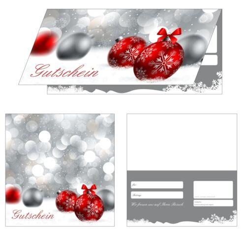 Weihnachten-800 Gutscheine Klappkarten rote Kugeln 200 Geschenkgutscheine
