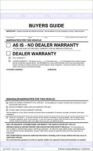 federal buyers guide as is no warranty form pack of 100 ebay rh ebay com Blank Sales Contract Forms As Is Car Sale Form