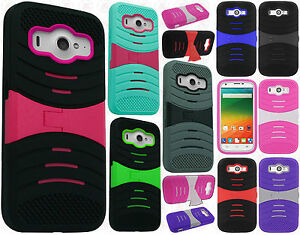 competitive price fa909 a694b Details about Us Cellular ZTE Imperial 2 HYBRID Hard Gel Rubber KICKSTAND  Case Phone Cover