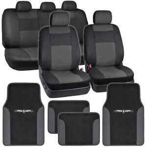 Dark-Gray-on-Black-PU-Leather-Seat-Covers-for-Car-w-Vinyl-Trim-Floor-Mats