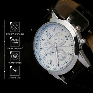 Cool-Men-039-s-Leather-Military-Casual-Analog-Quartz-Wrist-Watch-Business-Watches