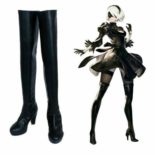 2 Type B Cosplay Shoes Costume Over Knee Long Boots NieR:Automata 2B YoRHa No