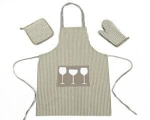 Kitchen Aprons Cooking Crafts Bbq Bib Dress With Oven Mitt Potholder Set 3 Piece Ebay