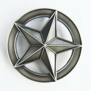 Circle-Star-Western-Cowboy-Antique-Silver-Belt-Buckle