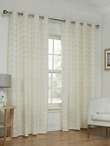 details sur zig zag naturel rideaux oeillet anneau blanc casse ivoire ecru creme geo stripe afficher le titre d origine