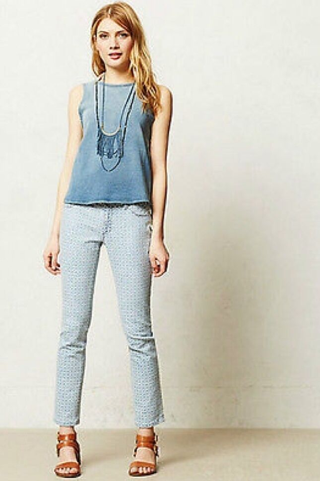 NEW Anthropologie DL1961 Angel Eyelet Ankle Jeans Pants Size 27  USA