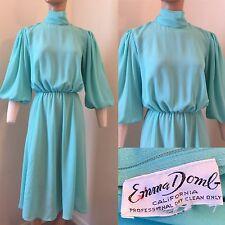 Emma Domb Vintage 70's Secretary Dress Fit & Flare Aqua Blue High Neck Blouse S