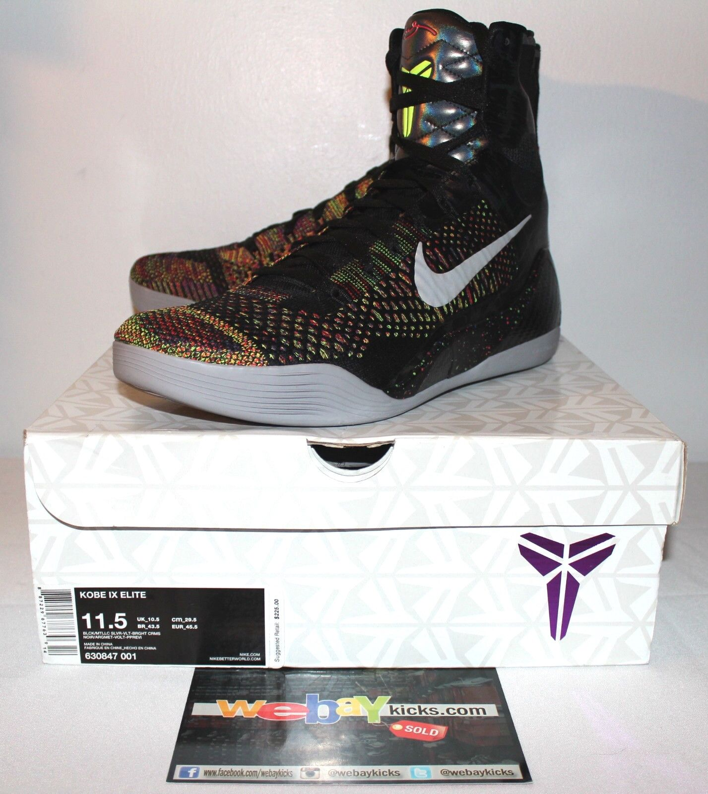 huge discount 23ed0 cb23a Nike Air Kobe 9 IX IX IX Elite Master Piece Multi Color Baskets Hommes  ce13c0