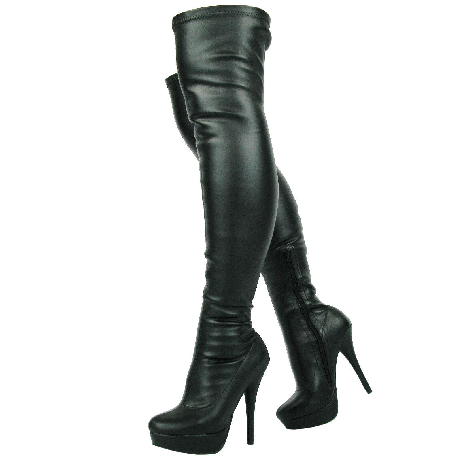 Nueva Sexy Ladies Negro sobre la rodilla de caña caña caña alta plataforma del talón botas 507bf5