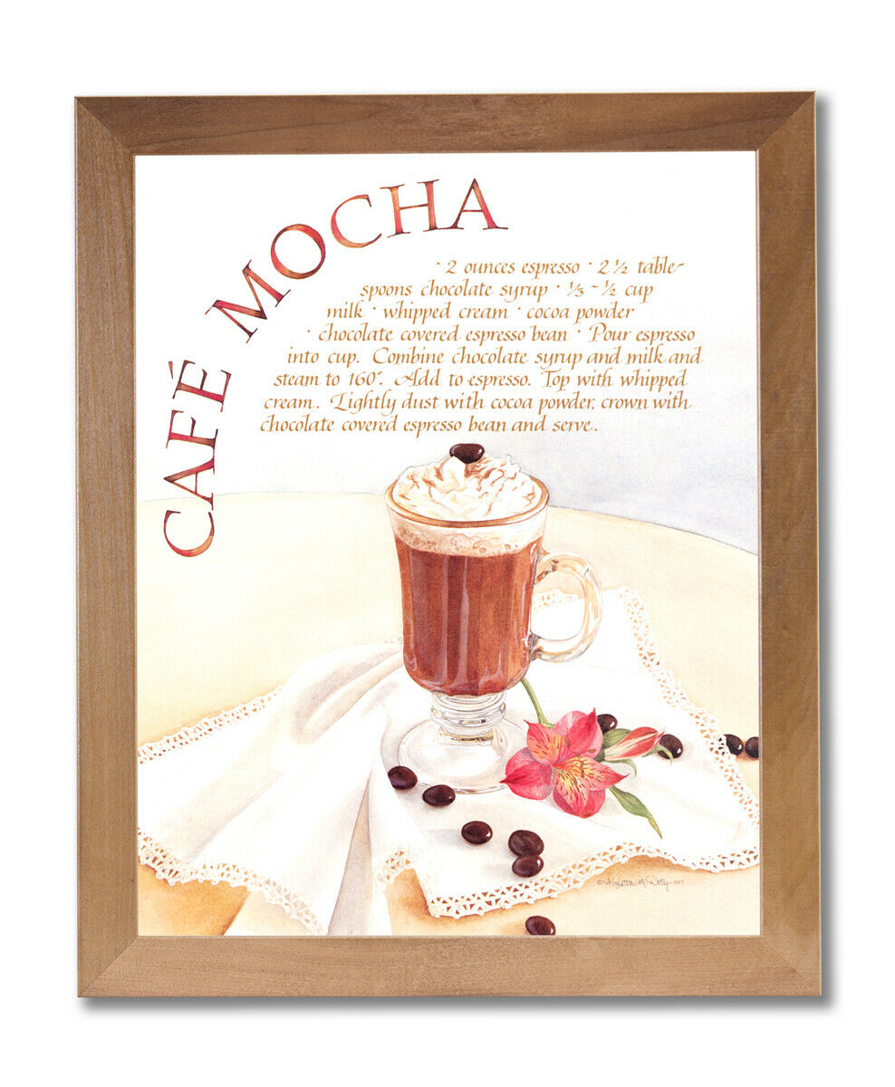 Coffee Cafe Mocha Home Kitchen Wall Picture Honey Framed Art Print