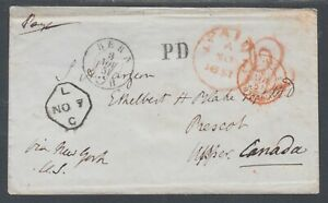Switzerland-1851-Stampless-Cover-to-Prescot-Upper-Canada