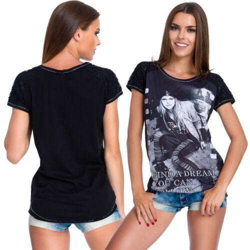 UK Women Casual Rhinestones T-Shirt Print Slogan Loose Short Sleeve Blouse FB289