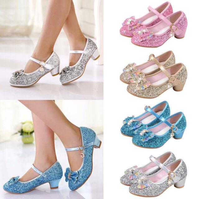 Kids Girls PU Sequins Dress Shoes Princess Prom Party Dress For Cha-cha Waltz